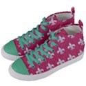 ROYAL1 WHITE MARBLE & PINK DENIM (R) Women s Mid-Top Canvas Sneakers View2