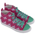 ROYAL1 WHITE MARBLE & PINK DENIM (R) Women s Mid-Top Canvas Sneakers View3