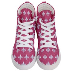 Royal1 White Marble & Pink Denim (r) Men s Hi Top Skate Sneakers