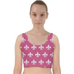 Royal1 White Marble & Pink Denim (r) Velvet Racer Back Crop Top