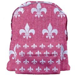 Royal1 White Marble & Pink Denim (r) Giant Full Print Backpack