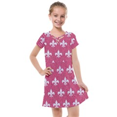 Royal1 White Marble & Pink Denim (r) Kids  Cross Web Dress