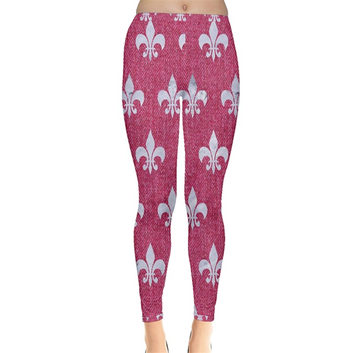 ROYAL1 WHITE MARBLE & PINK DENIM (R) Inside Out Leggings