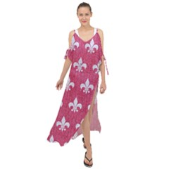 Royal1 White Marble & Pink Denim (r) Maxi Chiffon Cover Up Dress