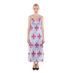 Royal1 White Marble & Pink Denim Sleeveless Maxi Dress