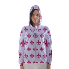 Royal1 White Marble & Pink Denim Hooded Windbreaker (women)