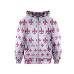 Royal1 White Marble & Pink Denim Kids  Zipper Hoodie