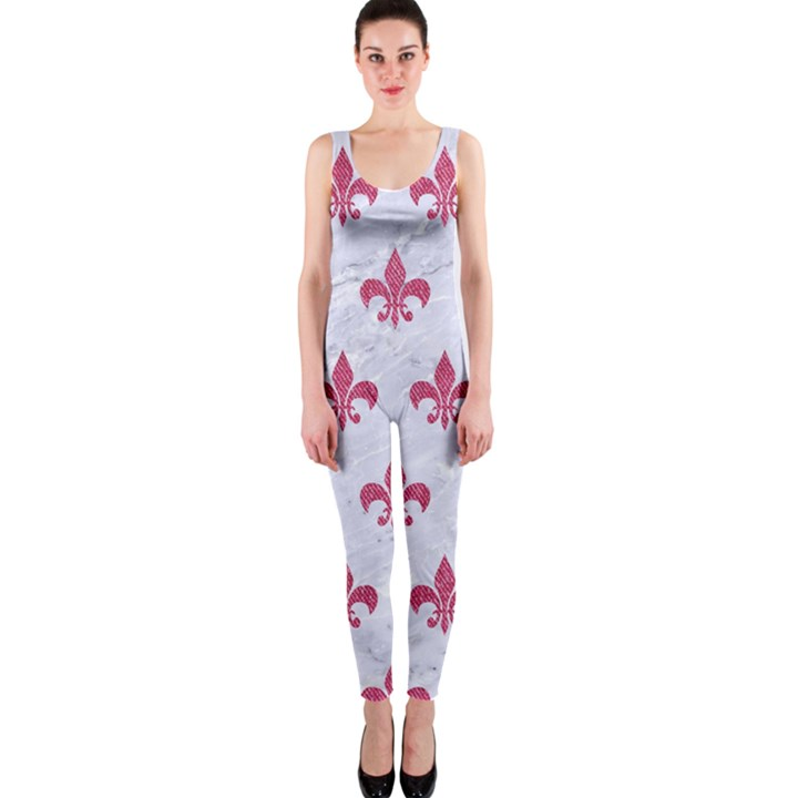 ROYAL1 WHITE MARBLE & PINK DENIM One Piece Catsuit