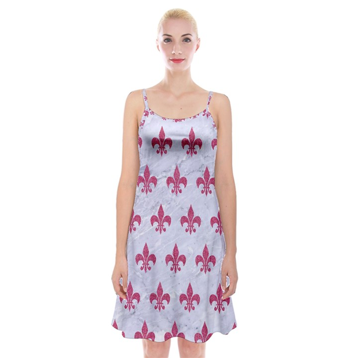 ROYAL1 WHITE MARBLE & PINK DENIM Spaghetti Strap Velvet Dress