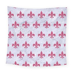 Royal1 White Marble & Pink Denim Square Tapestry (large)