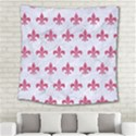 ROYAL1 WHITE MARBLE & PINK DENIM Square Tapestry (Large) View2