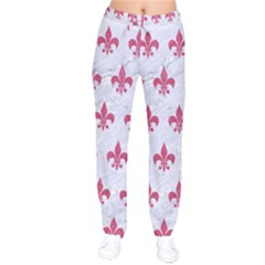 Royal1 White Marble & Pink Denim Velvet Drawstring Pants