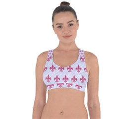 Royal1 White Marble & Pink Denim Cross String Back Sports Bra