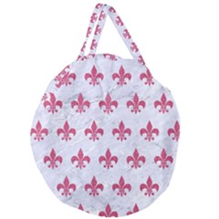 Royal1 White Marble & Pink Denim Giant Round Zipper Tote by trendistuff