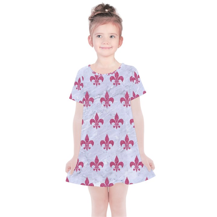 ROYAL1 WHITE MARBLE & PINK DENIM Kids  Simple Cotton Dress