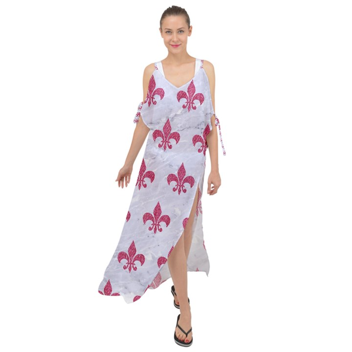ROYAL1 WHITE MARBLE & PINK DENIM Maxi Chiffon Cover Up Dress
