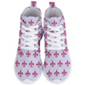ROYAL1 WHITE MARBLE & PINK DENIM Women s Lightweight High Top Sneakers View1