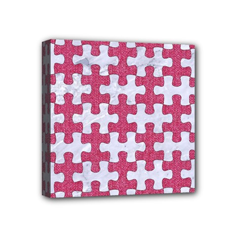 Puzzle1 White Marble & Pink Denim Mini Canvas 4  X 4
