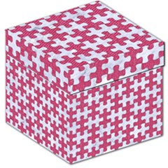 Puzzle1 White Marble & Pink Denim Storage Stool 12