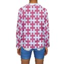 PUZZLE1 WHITE MARBLE & PINK DENIM Kids  Long Sleeve Swimwear View2