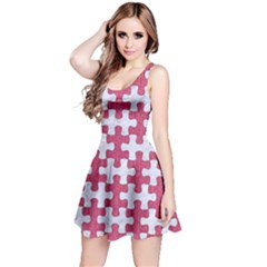 Puzzle1 White Marble & Pink Denim Reversible Sleeveless Dress