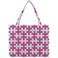Puzzle1 White Marble & Pink Denim Mini Tote Bag by trendistuff
