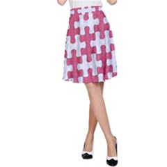 Puzzle1 White Marble & Pink Denim A Line Skirt