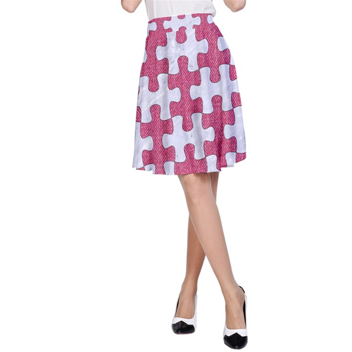 PUZZLE1 WHITE MARBLE & PINK DENIM A-Line Skirt