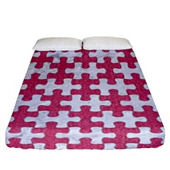 Puzzle1 White Marble & Pink Denim Fitted Sheet (california King Size) by trendistuff