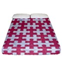 PUZZLE1 WHITE MARBLE & PINK DENIM Fitted Sheet (California King Size) View1