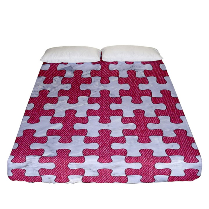 PUZZLE1 WHITE MARBLE & PINK DENIM Fitted Sheet (California King Size)