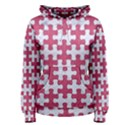PUZZLE1 WHITE MARBLE & PINK DENIM Women s Pullover Hoodie View1