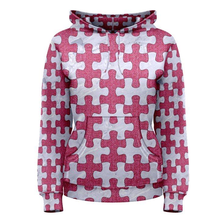 PUZZLE1 WHITE MARBLE & PINK DENIM Women s Pullover Hoodie