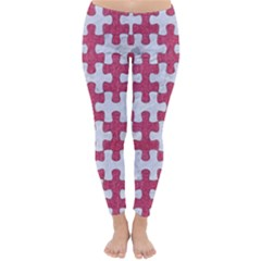 Puzzle1 White Marble & Pink Denim Classic Winter Leggings