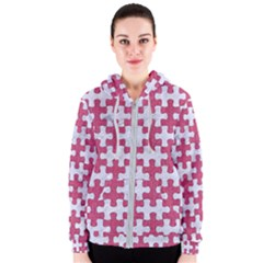 Puzzle1 White Marble & Pink Denim Women s Zipper Hoodie