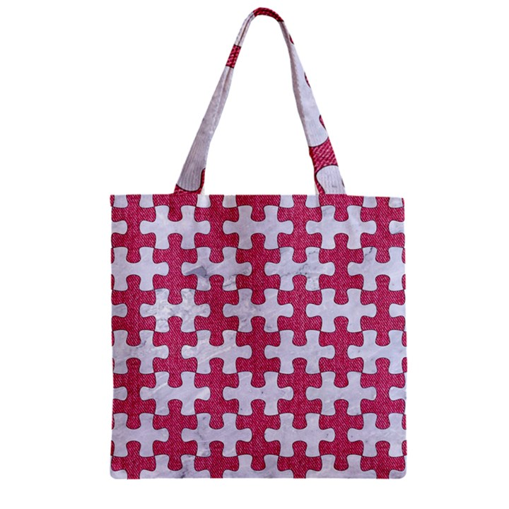 PUZZLE1 WHITE MARBLE & PINK DENIM Zipper Grocery Tote Bag