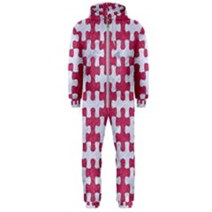 Puzzle1 White Marble & Pink Denim Hooded Jumpsuit (men)