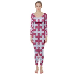 Puzzle1 White Marble & Pink Denim Long Sleeve Catsuit