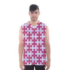 Puzzle1 White Marble & Pink Denim Men s Basketball Tank Top