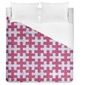 PUZZLE1 WHITE MARBLE & PINK DENIM Duvet Cover (Queen Size) View1