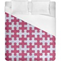 PUZZLE1 WHITE MARBLE & PINK DENIM Duvet Cover (California King Size) View1