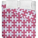 PUZZLE1 WHITE MARBLE & PINK DENIM Duvet Cover Double Side (King Size) View1