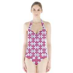 Puzzle1 White Marble & Pink Denim Halter Swimsuit