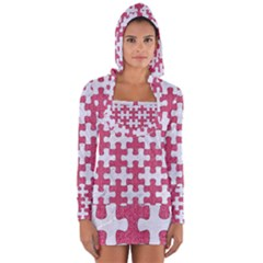 Puzzle1 White Marble & Pink Denim Long Sleeve Hooded T Shirt