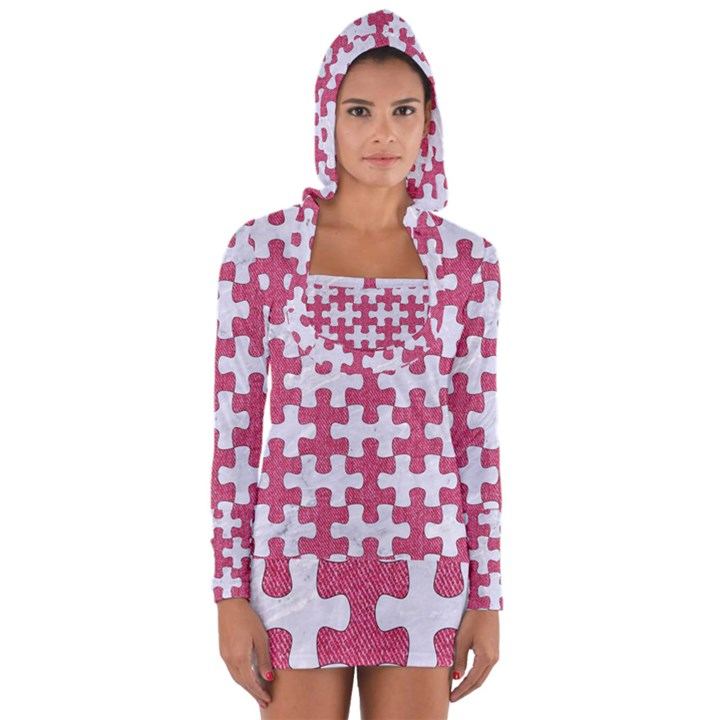 PUZZLE1 WHITE MARBLE & PINK DENIM Long Sleeve Hooded T-shirt