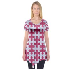 Puzzle1 White Marble & Pink Denim Short Sleeve Tunic