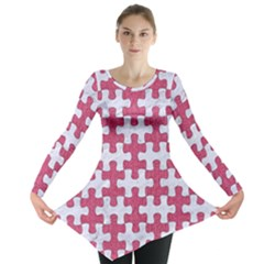 Puzzle1 White Marble & Pink Denim Long Sleeve Tunic
