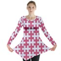 PUZZLE1 WHITE MARBLE & PINK DENIM Long Sleeve Tunic  View1