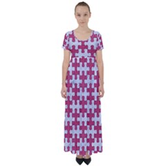Puzzle1 White Marble & Pink Denim High Waist Short Sleeve Maxi Dress