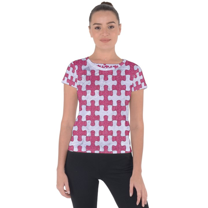 PUZZLE1 WHITE MARBLE & PINK DENIM Short Sleeve Sports Top